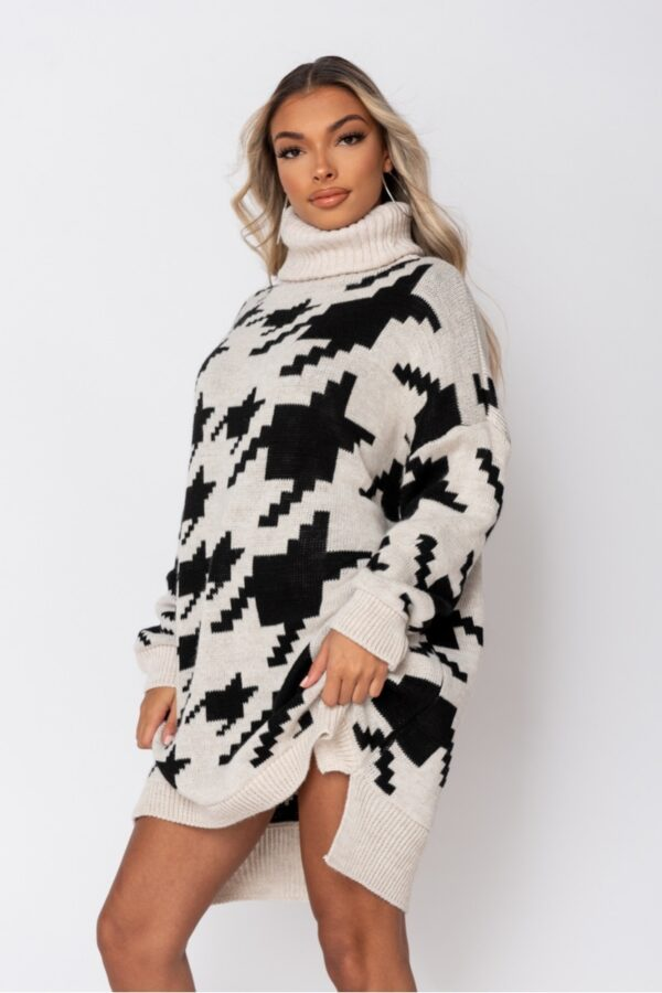 knitwear and Beige Black Houndstooth Check Roll Neck Jumper Dress at www.amora-shopping.com