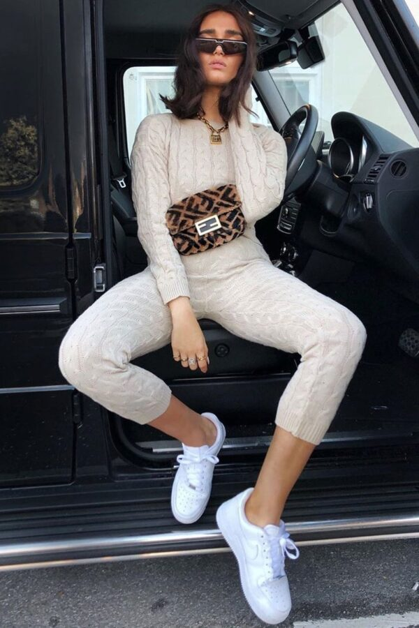 knitwear and Beige Cable Knit Jogger Lounge Set at www.amora-shopping.com