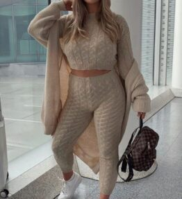 Shop Beige Cable Knit Jogger Lounge Set and women's clothes at www.amora-shopping.com