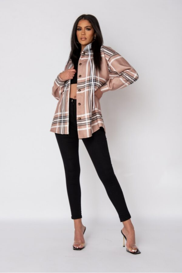 women's clothing and Beige Check Oversized Hooded Jacket at www.amora-shopping.com
