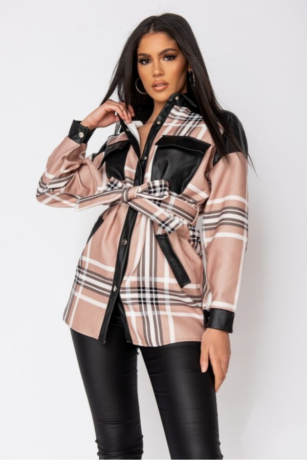 women's clothing and Beige Checked Faux Leather Trim Belted Jacket at www.amora-shopping.com