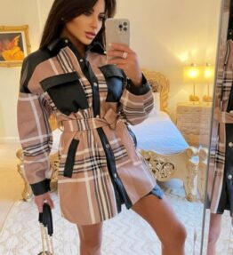 Shop Beige Checked Faux Leather Trim Belted Jacket - Beige