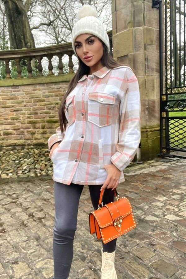 Shop Beige Oversized Checked Pocket Detail Shacket and women's clothes at www.amora-shopping.com