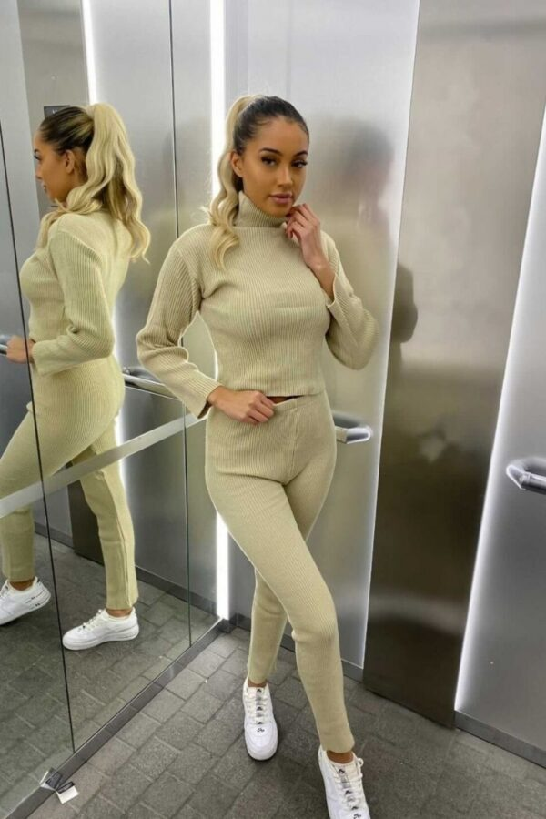 Shop Beige Rib Knit Roll Neck & Legging Lounge Set and women's clothes at www.amora-shopping.com