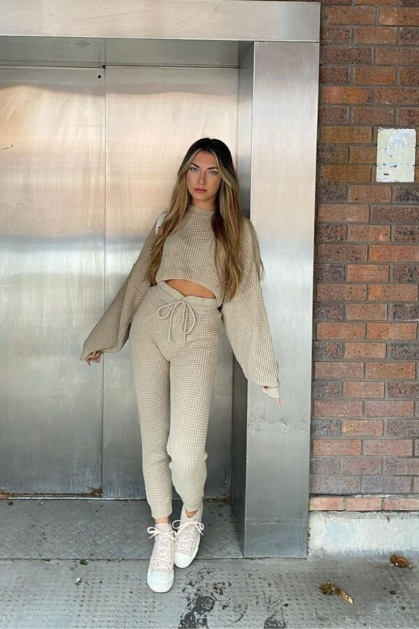 knitwear and Beige Waffle Knit Cropped Jumper Lounge Set at www.amora-shopping.com
