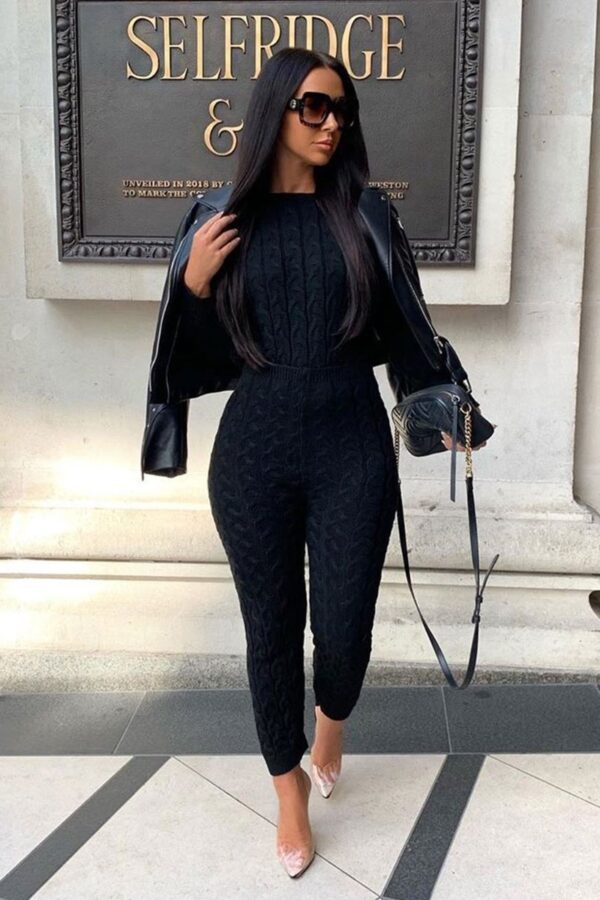 Shop Black Cable Knit Jogger Lounge Set and women's clothes at www.amora-shopping.com