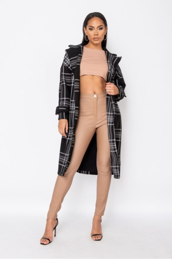 women's clothing and Black Check Collared Belted Trench Coat at www.amora-shopping.com