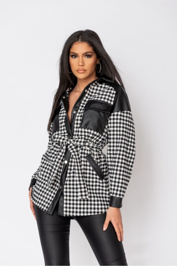 women's clothing and Black Gingham Check Faux Leather Trim Belted Jacket at www.amora-shopping.com