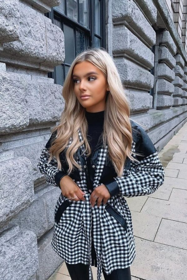 Shop Black Gingham Check Faux Leather Trim Belted Jacket and women's clothes at www.amora-shopping.com