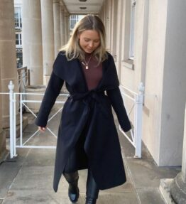 Shop Black Mid Length Oversized Belted Waterfall Coat and women's clothes at www.amora-shopping.com