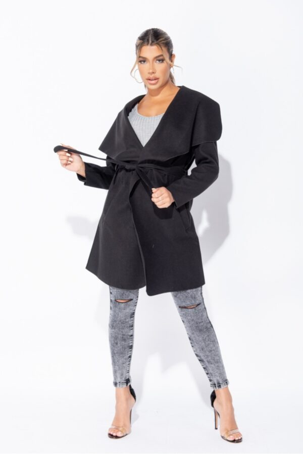 women's clothing and Black Mid Length Oversized Belted Waterfall Coat at www.amora-shopping.com
