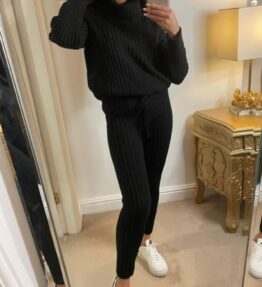 Shop Black Rib Knit Roll Neck Jumper & Legging Lounge Set and women's clothes at www.amora-shopping.com