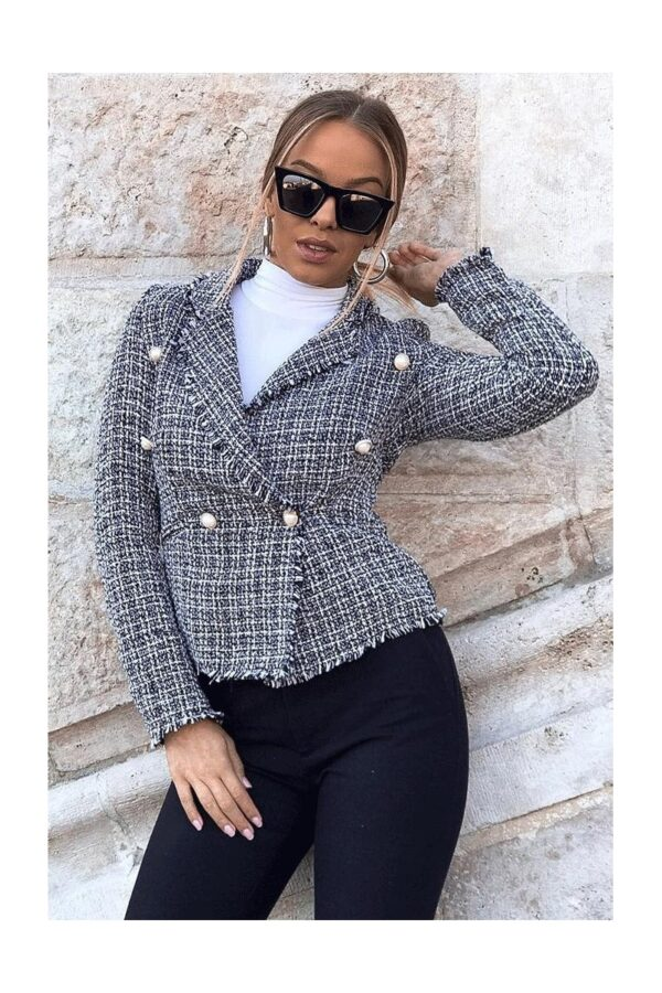 Shop Black Tweed Check Dome Button Frayed Edge Blazer and women's clothes at www.amora-shopping.com