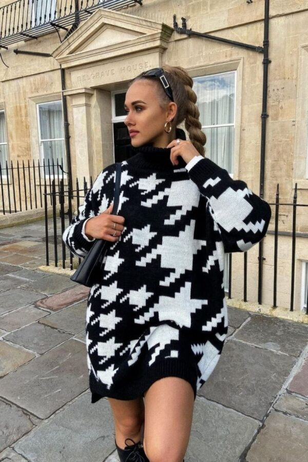 Shop Black White Houndstooth Check Roll Neck Jumper Dress and women's clothes at www.amora-shopping.com