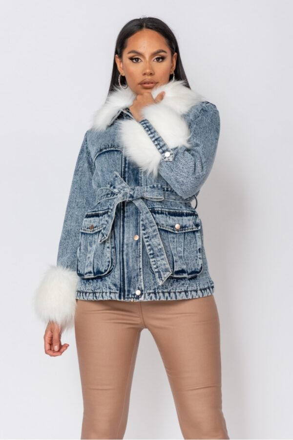 women's clothing and Blue Cream Faux Fur Trim Belted Denim Jacket at www.amora-shopping.com
