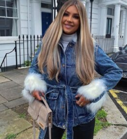 Shop Blue Cream Faux Fur Trim Belted Denim Jacket and women's clothes at www.amora-shopping.com