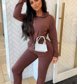 Shop Brown Cropped Hoodie & Jogger Lounge Set and women's clothes at www.amora-shopping.com