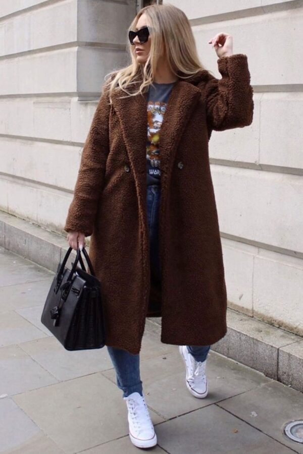 Shop Brown Longline Borg Teddy Coat and women's clothes at www.amora-shopping.com