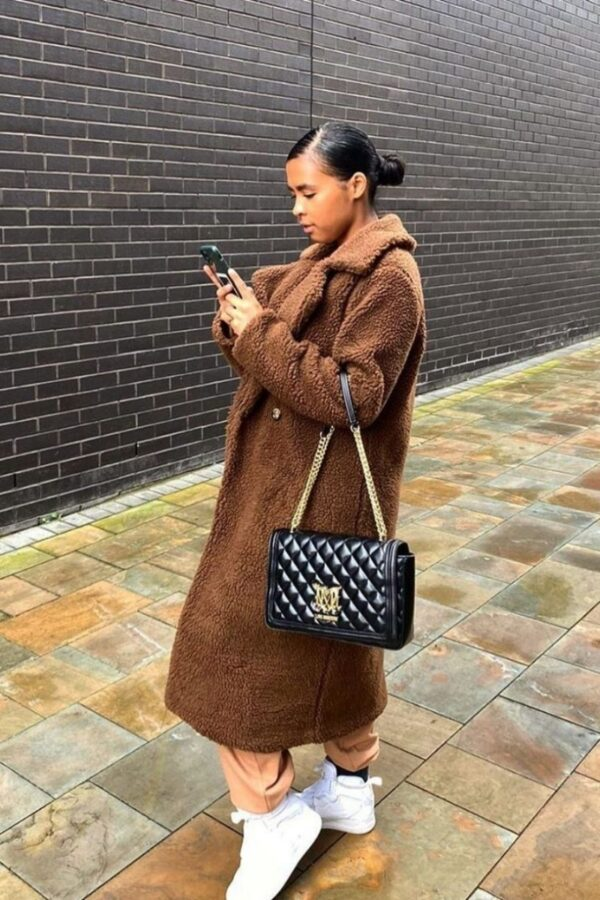 knitwear and Brown Longline Borg Teddy Coat at www.amora-shopping.com