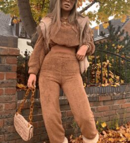 Shop Brown Teddy Borg Cropped Top & Jogger Lounge Set and women's clothes at www.amora-shopping.com