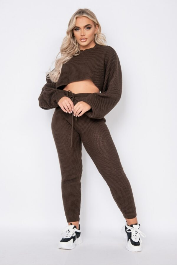 knitwear and Brown Waffle Knit Cropped Jumper Lounge Set at www.amora-shopping.com