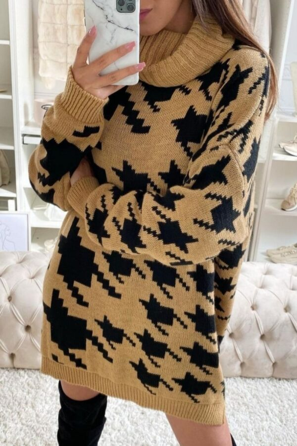 knitwear and Camel Black Houndstooth Check Roll Neck Jumper Dress at www.amora-shopping.com