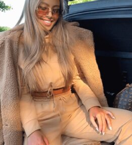 Shop Camel Cropped Hoodie & Jogger Lounge Set and women's clothes at www.amora-shopping.com