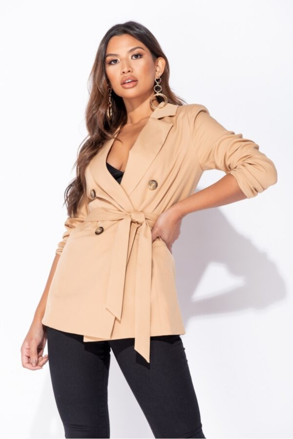 women's clothing and Camel Double Breasted Belted Fitted Blazer at www.amora-shopping.com