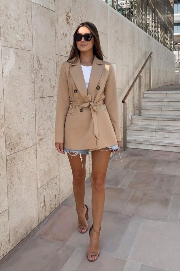 Shop Camel Double Breasted Belted Fitted Blazer and women's clothes at www.amora-shopping.com
