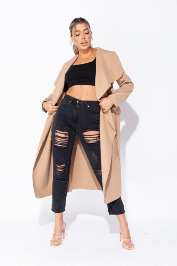 women's clothing and Camel Maxi Length Oversized Belted Waterfall Coat at www.amora-shopping.com