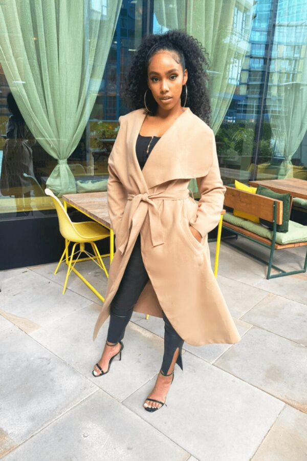 Shop Camel Maxi Length Oversized Belted Waterfall Coat and women's clothes at www.amora-shopping.com