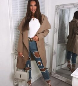 Shop Camel Mid Length Oversized Belted Waterfall Coat and women's clothes at www.amora-shopping.com