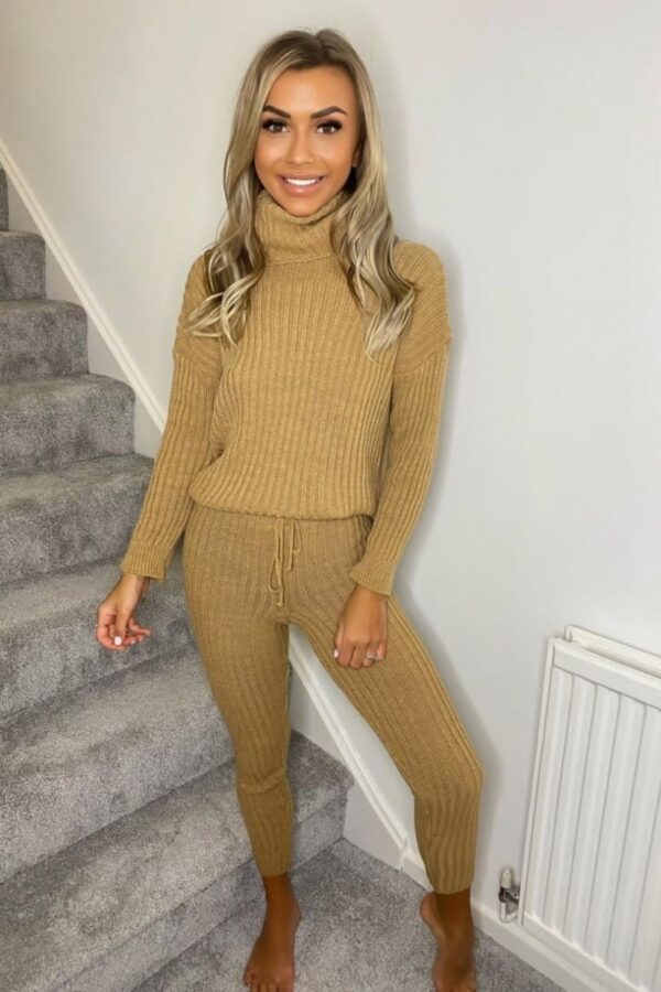 Shop Camel Rib Knit Roll Neck Jumper & Legging Lounge Set and women's clothes at www.amora-shopping.com
