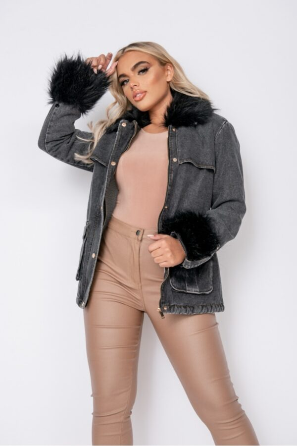 women's clothing and Charcoal Black Faux Fur Trim Belted Denim Jacket at www.amora-shopping.com
