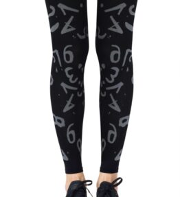 """Zohara """"Lucky Number"""" Light Grey Print Footless Tights"""