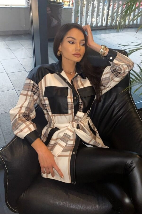 Shop Cream Checked Faux Leather Trim Belted Jacket and women's clothes at www.amora-shopping.com