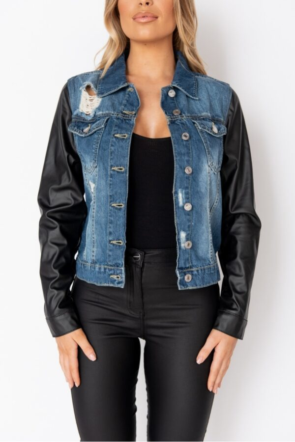 women's clothing and Dark Blue Faux Leather Sleeve Distressed Denim Jacket at www.amora-shopping.com