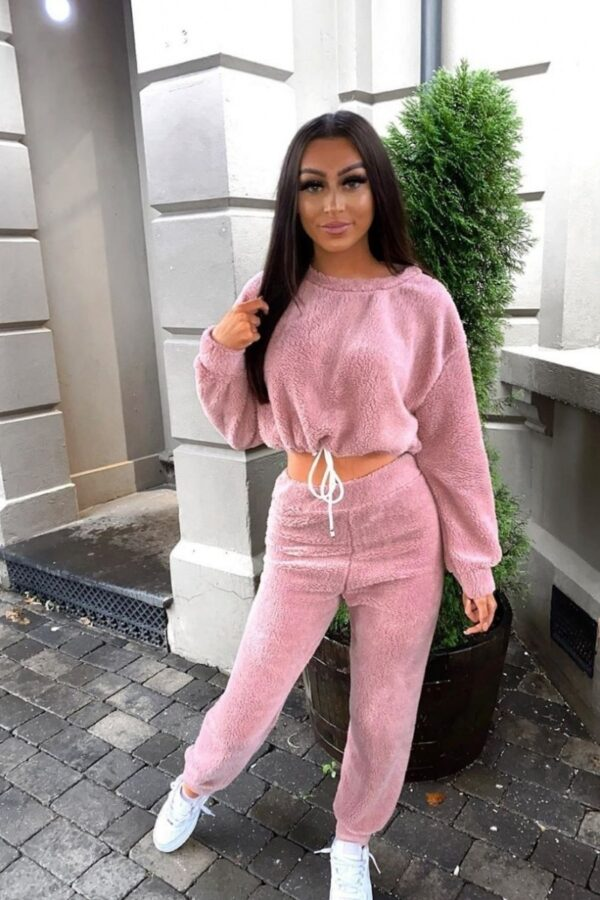 Shop Dark Pink Teddy Borg Cropped Top & Jogger Lounge Set and women's clothes at www.amora-shopping.com