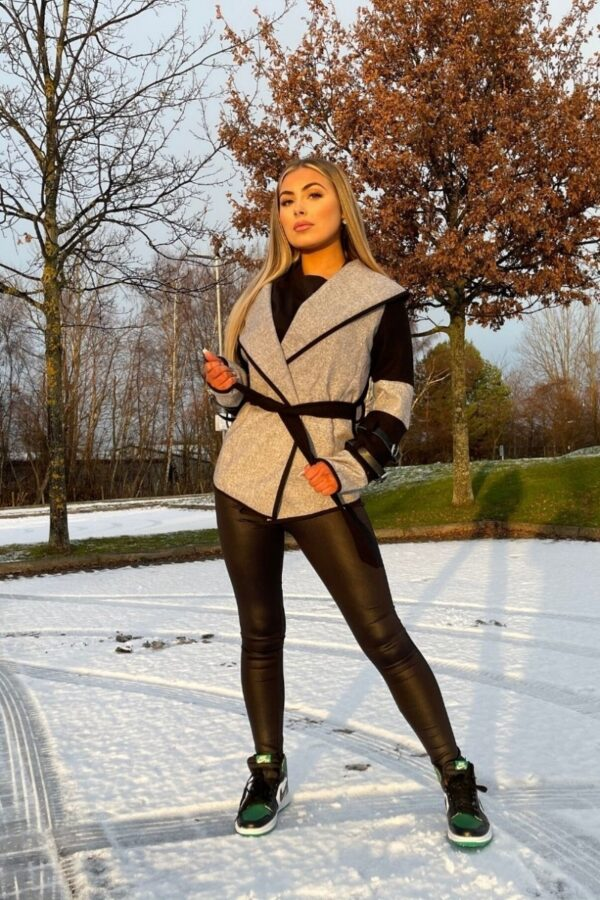 Shop Grey Black Contrast Panel Wrapover Jacket and women's clothes at www.amora-shopping.com