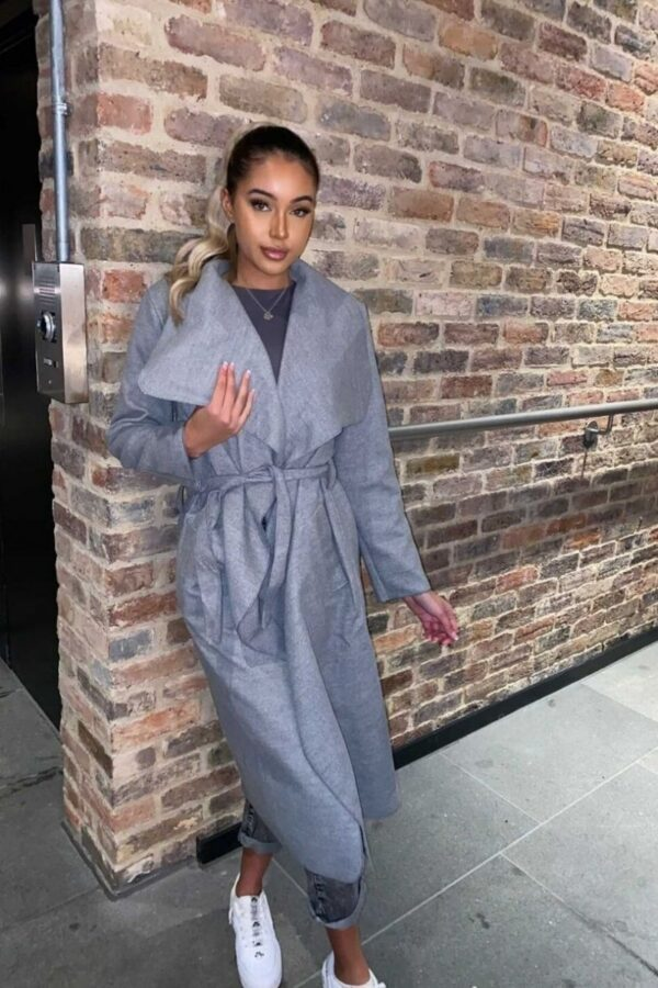 Shop Grey Maxi Length Oversized Belted Waterfall Coat and women's clothes at www.amora-shopping.com