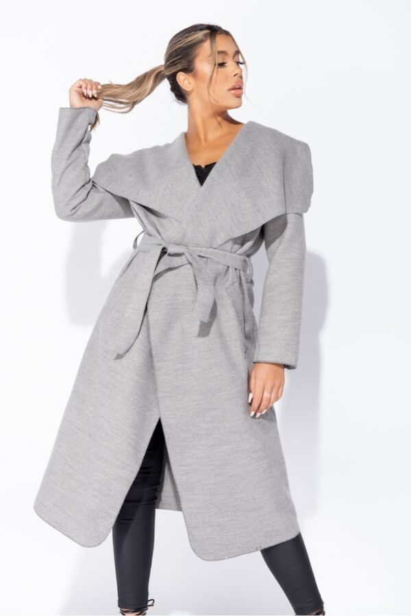 women's clothing and Grey Maxi Length Oversized Belted Waterfall Coat at www.amora-shopping.com