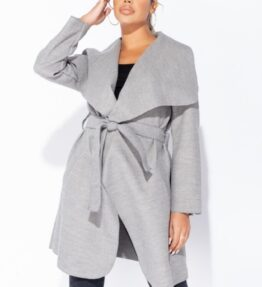 Shop Grey Mid Length Oversized Belted Waterfall Coat and women's clothes at www.amora-shopping.com