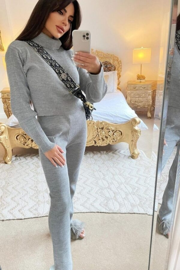 Shop Grey Rib Knit Roll Neck & Legging Lounge Set and women's clothes at www.amora-shopping.com