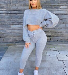 Shop Grey Waffle Knit Cropped Jumper Lounge Set and women's clothes at www.amora-shopping.com