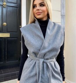 Shop Grey Wool Effect Edge To Edge Sleeveless Belted Blazer and women's clothes at www.amora-shopping.com