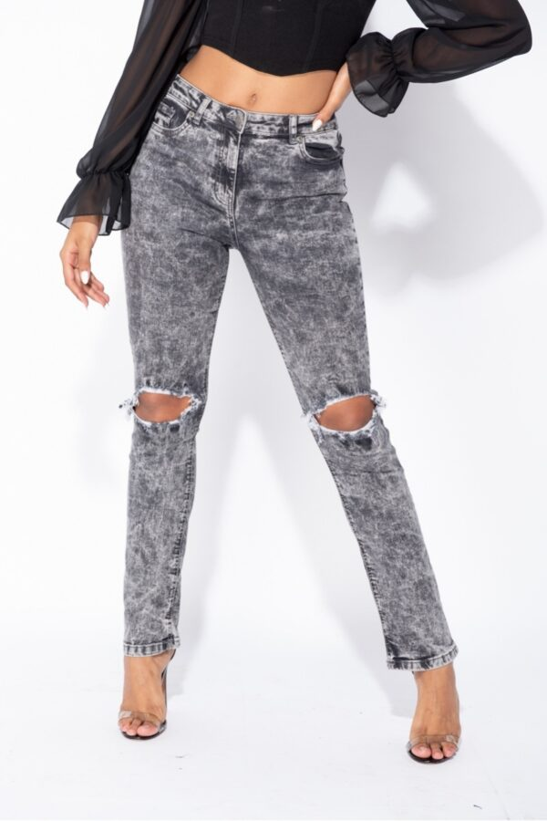 knitwear and Light Grey Acid Knee Rip Distressed Straight Leg Jeans at www.amora-shopping.com