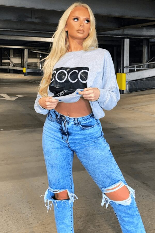 Shop Mid Blue Distressed Turn Up Hem Boyfriend Jean and women's clothes at www.amora-shopping.com