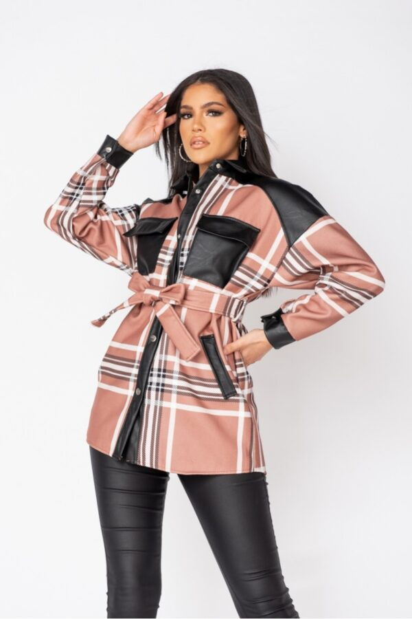 women's clothing and Mocha Checked Faux Leather Trim Belted Jacket at www.amora-shopping.com