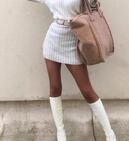 Shop Off White Rib Knit Roll Neck Jumper Dress and women's clothes at www.amora-shopping.com