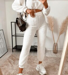 Shop Off White Teddy Borg Cropped Top & Jogger Loungewear Set and women's clothes at www.amora-shopping.com
